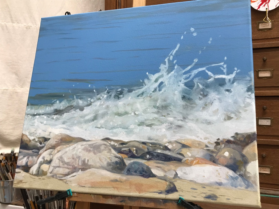 #peinture #art #atelier #travailencours #huilesurtoile #littoral