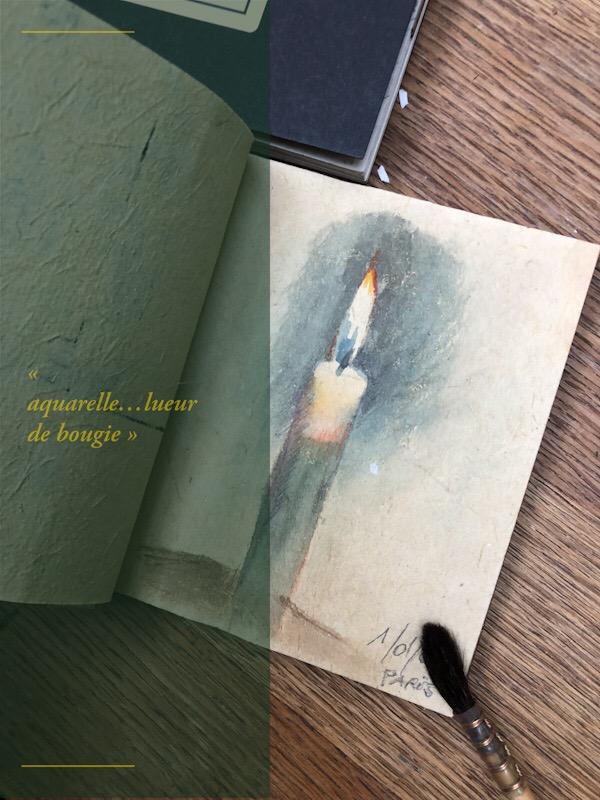 #carnet de voyage #aquarelle #bougie #noël