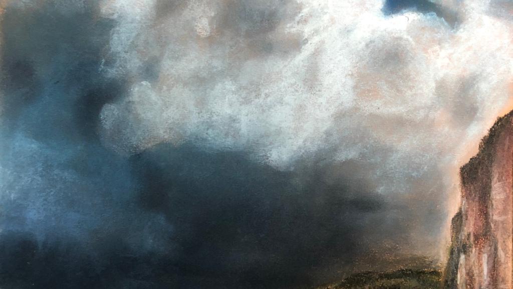 L'orage menace sur le littoral normand #dessinpastel #pastelsec